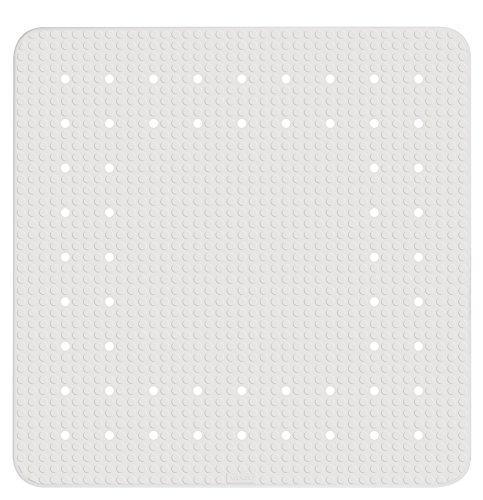 Wenko Duscheinlage Mirasol Antirutsch-Duschmatte mit Saugnäpfen, Naturkautschuk, Weiß, 54 x 54 x 0.1 cm