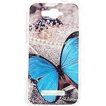 Beiuns Carcasa de TPU y silicona para Alcatel One Touch Pop C7 Funda - XX521 mariposa azul