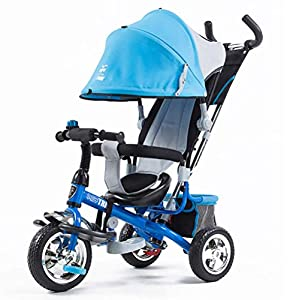 Tricycle Children's Trike with Sun Canopy and Removable Parent Handle Buggy Stroller Fit from 6 Months to 6 Years Boys and Girls Colour Choice,Blue   8