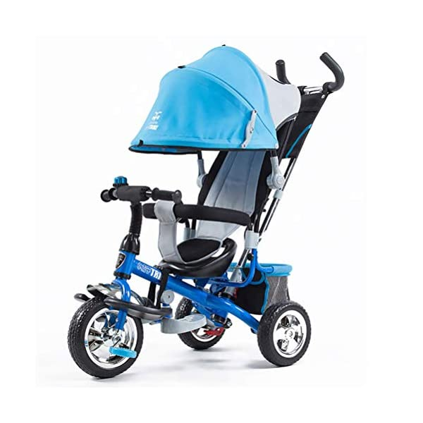 Tricycle Children's Trike with Sun Canopy and Removable Parent Handle Buggy Stroller Fit from 6 Months to 6 Years Boys and Girls Colour Choice,Blue  4 IN 1 TRIKE: This is a growing with your child innovative kid trike, it follows with your baby's growing up and can be a baby bike, baby walker, or trike with parent pushing rod and canopy. Very Practical: Built with the sturdy aluminum alloy frame in superior strength, Non-slip handle with bell for best touch and added fun in riding, Anti-slip pedals make driving safer, foot brake, stop any time, back storage bin and front basket for storing child's essentials. A variety of safety features such as secure 3-point Y harness, extendable canopy, safety bar and non-slip pedals will all ensure a safe and worry-free ride for you both. 1