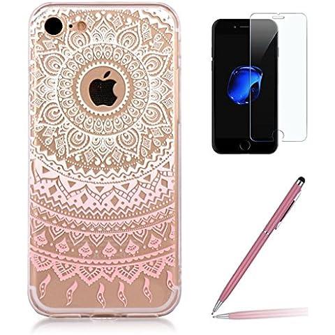 Custodia iPhone 7 [Pellicola Protettiva in Vetro Temperato], Yoowei® Chiaro Cristallo Trasparente Ultra Sottile Morbido TPU Gel Case Cover per iPhone 7 4.7