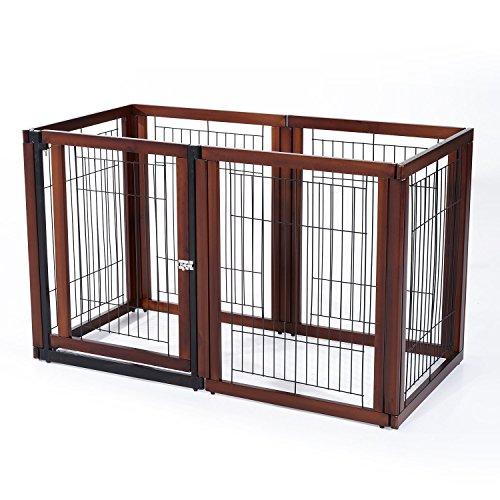 Pawhut – recinto gabbia per cani e gatti 6 elementi in legno di pino, perimetro 366cm