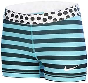 Nike - Pro 3 inch Strip and Dot Short pour femmes (turquoise/noir) - L