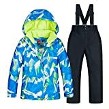 Chlyuan Winterjacke Winter-Verdickung warme Kinderskianzug-Jungenanzug Winddicht wasserdicht Geeignet für kaltes Wetter (Farbe : C1+Black Pants, Größe : 10 Yards)