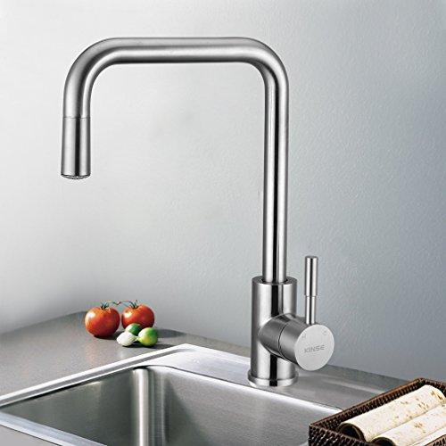KINSE® LED RGB Küchenarmatur Mischbatterie Küche Armatur Wasserfall Spültischarmatur 360 Grad Drehung 304 Edelstahl