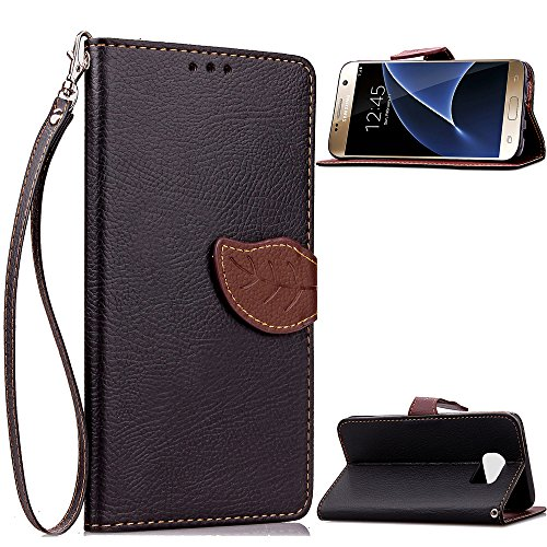 CaseHome Compatible with Cover Samsung Galaxy S7 Lederoptik PU Leder Hülle Nature Blatt Etui PU-Leder Brieftasche Flip Hüllen Magnetverschluss Standfunktion Folio Tasche Schutzhülle(Schwarz Color) -