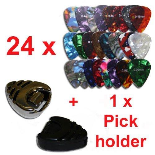 SolPortalHome 0.46/0.72/0.96mm 3 Typen von Dicke 8 Stück Jedes Plecktrum Gitarren Pick Zufällige Farbe mit einem Schwarzen/ Silber Behälter