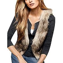 b6b40d80e1b4b2 Minetom® Damen Pelz Fellweste Weste Frauen Lederweste Fellweste Faux Fur  Vest Gilet Waistcoat Winter Braun
