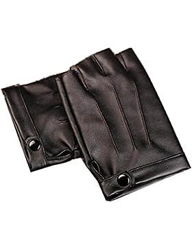 DIDIDD Guantes de cuero medio dedo masculino presentando medios para el último paseo en moto,Negro1,Un tamaño
