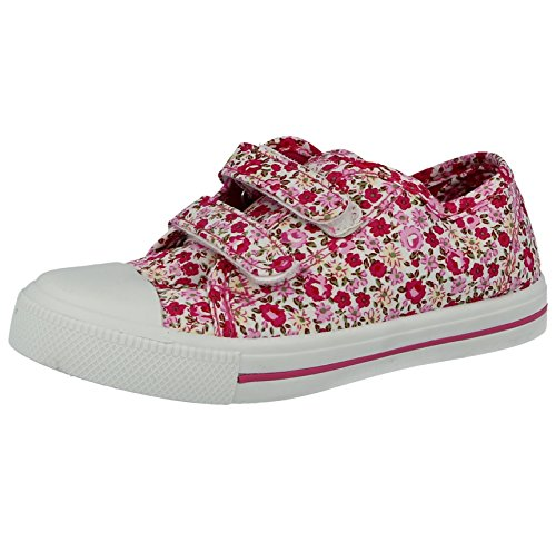 Kids Girls Boys Unisex 601400 Canvas Low Top Double Touch Close Straps Trainers Plimsolls Pumps Size Infant 4- UK 2