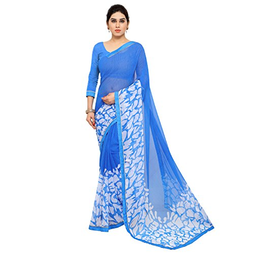 Jaanvi Fashion Women's Blue Chiffon Party Wear Printed Saree With Lace And Blouse Piece  available at amazon for Rs.399