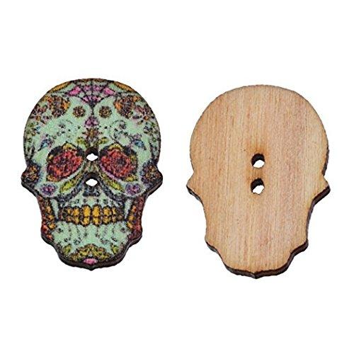 Tamaño aproximado de la caja: 50 botones de madera con diseño...