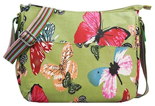 Kukubird vari Poodle farfalla fiori stelle polkadots pattern & Rainbow Strap Sling crossbody Messenger scuola palestra Bag L Butterfly Green