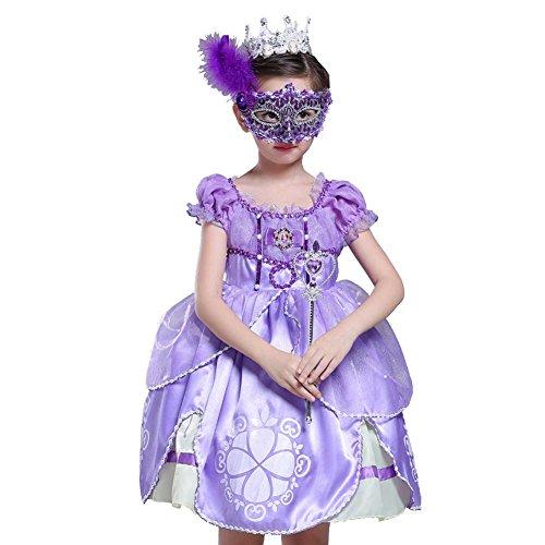 Byjia Children dress Kinder Blumen Mädchen Kleid Tüll Chiffon Hochzeit Festzug Geburtstagsparty Prinzessin Brautjungfer Taufkleider Weihnachten Halloween Kinder Krone Wand Maske Purple 100Cm