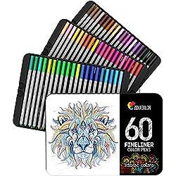 Zenacolor 60 Rotuladores Punta Fina 60 Colores Unicos - Bolígrafo Fineliner 0,4 mm - Tinta Base Agua Colorear (Adultos), Dibujar, Manga, Caligrafía o Trabajos Que Requieran Preción (60)