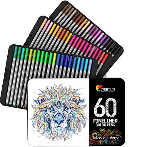 Zenacolor ⭐ 60 Rotuladores Punta Fina 60 Colores