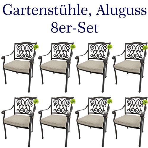 Made for us 8 Gartenstühle aus wetterfestem Aluguss mit UV Beständiger AkzoNobel Einbrennlackierung. Inkl. 8 waschbaren Sitzkissen. Platzsparend stapelbar. Das Original