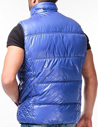 CHICK REBELLE - Gilet -  - Veste damassée - Uni - Sans manche Homme Bleu - Royalblau