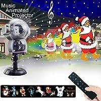Luz de nevadas Navidad, proyector luces navidad impermeable con mando a distancia temporizador y reproductor de música animación Nieve que cae la luz para Halloween boda Navidad