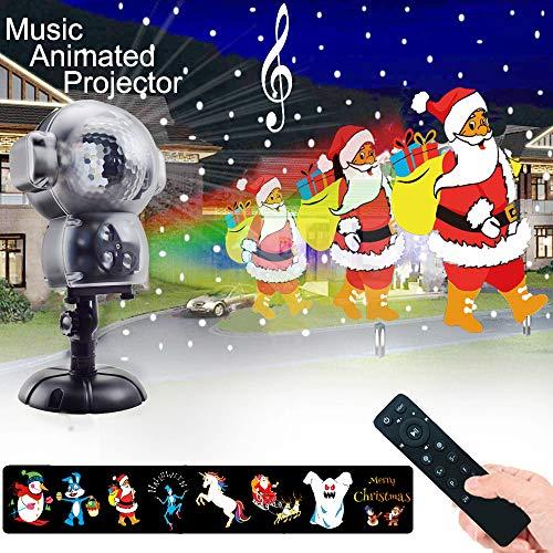 Proiettore Luci Di Natale ,Luce di caduta della neve impermeabile con telecomando Timer e musica Player Animated Lights Proiettore per Halloween matrimonio natale vacanze