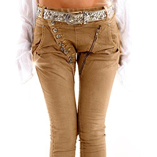 Designer Damen Jeans Secret Buttons Zipper Jeans Knöpfe Skinny Baggy Push Up Mokka