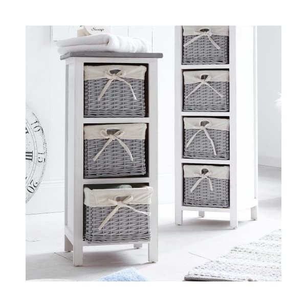 Pureday 3 Drawer Storage Cabinet With Wicker Baskets Search Furniture