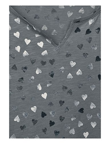 Cecil Maglietta a Maniche Lunghe Donna Grau (Graphit Light Grey 30498)