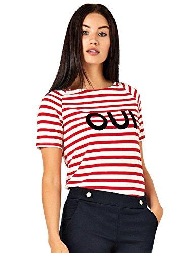 JDY Ladies Soft Jersey Short Sleeved Crew Neck Stripe Print Parisian Bonjour Oui Slogan Top