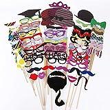 ojofischer 76Pcs Photo Booth Props Mustache Lips Hat sur Un bâton Party Anniversaire de Mariage Photobooth Dress-up Accessoires & Party Favors 100% BrandNew aus Matériel Premium