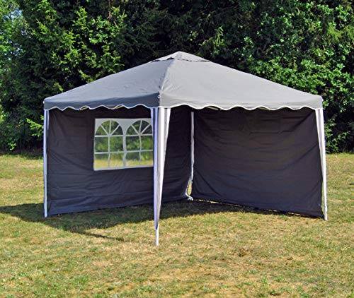 Ks ALU Faltpavillon 3 x 3 mit 2 Seitenwänden Wasserabweisend Faltzelt Pavillon Falt Pavillon Gartenpavillon (Antrazit)