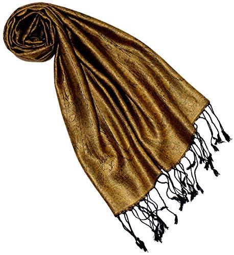 Lorenzo Cana Luxus Seidenschal für Frauen Schal 100% Seide gewebt Damenschal elegant Paisley Muster Ton in Ton, Gold, 35 x 160 cm