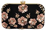 Tooba Handicraft Party Wear Hand Embroidered Box Clutch Bag Purse For Bridal, Casual, Party , Wedding ( black antique sequins flower 6x4)