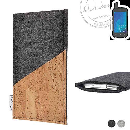 flat.design Handy Hülle Evora für Ruggear RG720 handgefertigte Handytasche Kork Filz Tasche Case fair dunkelgrau