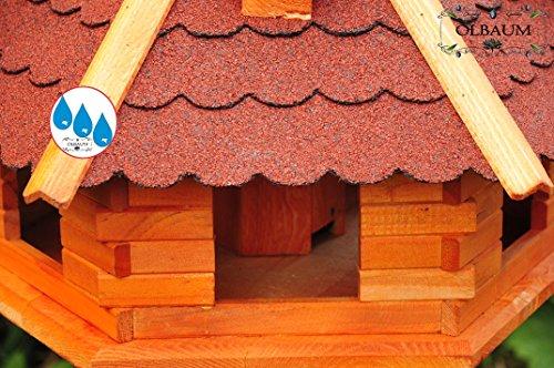 Vogelhaus XXL Premium, ca. 70-75 cm, wetterfest Massivdach, mit Ständer / mit Standfuß und Silo,Futtersilo für Winterfütterung -Holz Nistkästen & Vogelhäuser- aus Holz Holz rot mit Ständer BGX75roMS rote Bitumenschindel - 4