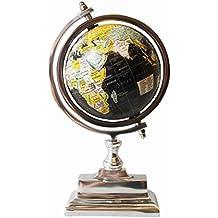 globo terrqueo metal rotatorio mapamundi papel decoracin cromo base xx