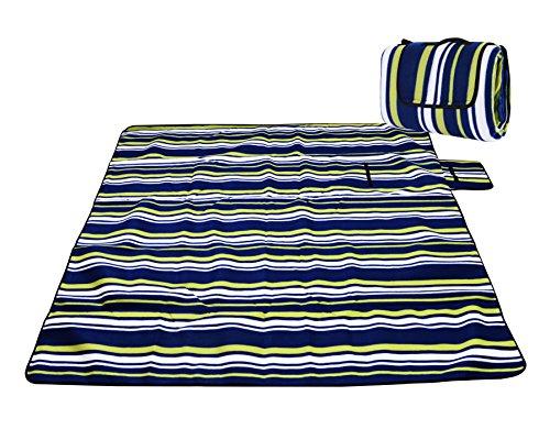 Honeystore Flanell Wasserdichte Yoga Matte Strand Ausflug Picknickdecke Mit Tragegriff 200*200 CM Blau Grün Streifen