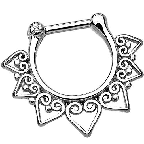 Piersando Piercing Scharnier Clicker Ring Tribal Spikes Spitzen mit Herz Ornament Vintage Septum für Tragus Helix Ohr Nase Lippe Brust Intim Spitzen Silber