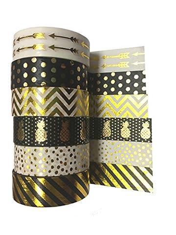 Feuille d'or Noir et blanc Washi Tape–Chaque 10m de long–Idéal pour les Journalisation) Artisanat, scrapbooking, fabrication de cartes,