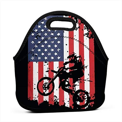 American Flag Motocross Lunch Bag for Men Women, Leakproof Insulated Cooler Bag for Work, School, Black