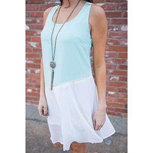... Bekleidung Longra Damen Sommerkleider Chiffon ärmellose lässige  Sommerferien Party kurze Mini-Kleid Blue ...