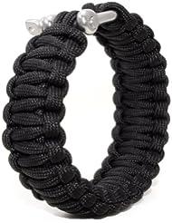 """Ganzoo Survival-cuerda (compacto trenzada para Pulsera) de """"paracaídas cuerda""""/""""Paracord""""/""""550 de pana"""" (kernmantle-cuerda) de metal inoxidable-rosca, longitud total 3,6 Meter (ser trenzados), color: negro: la no apta para escalada! - negro"""