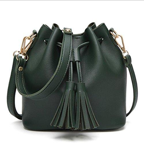 Umhängetasche Schulter Fringe Casual Bag (Größe: 20 * 11 * 19cm) ( Farbe : Grün ) (Kordelzug-wildleder-beutel)