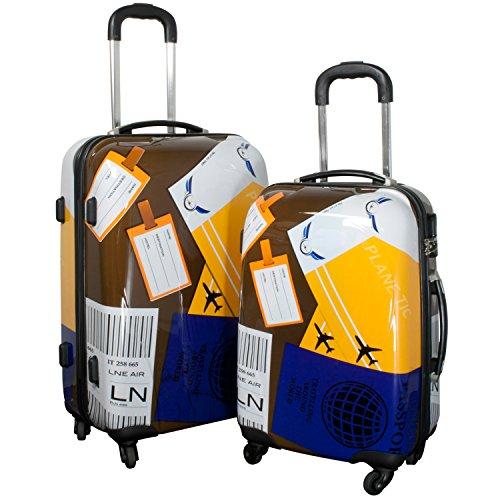 Reise Kofferset mit Rollen 2 teilig leicht mit verschiedenen Motiven - Polycarbonat Reisekoffer Trolley-Set (Neapel)