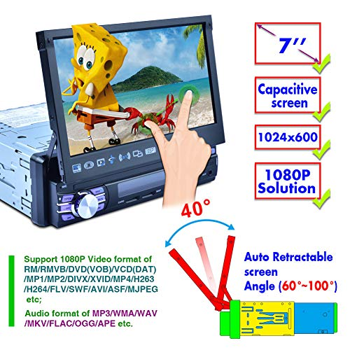 Auto 7 Zoll Motorisierter Flip Up Touchscreen Auto DVD/CD/USB/SD / MP4 / MP3 Player GPS Navigation