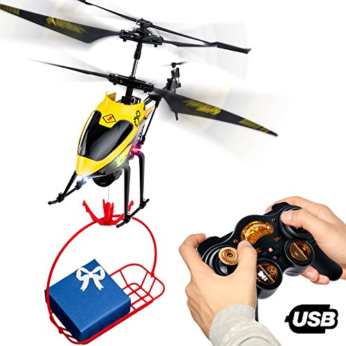 RC Remote Control Helicopter Gifts for Teenagers Boys Girls | 3CH Channel Gyro RC Helicopter with Winch Carry Basket, LED Mini Indoor Outdoor Radio Controlled Heli Teenage Adults Flying Toys RTF