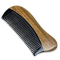 Cosanter Hornkamm Handgefertigter Kamm Antistatische Sandelholz hölzerne Haar Massage Kamm Breite Zähne aus kamm für Haar und Bartpflege