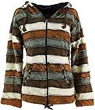 Guru-Shop Goa Patchwork Jacke mit Zipfelkapuze, Damen, Braun, Baumwolle, Size:S (36), Boho Jacken, Westen Alternative Bekleidung