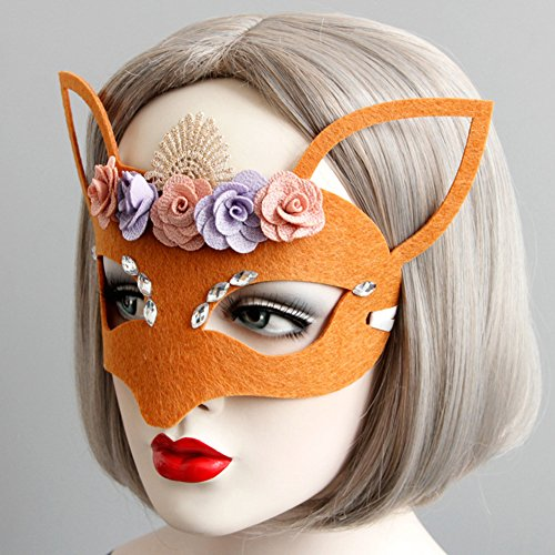 yimosecoxiang yimosecoxiang New Halloween Make Up Requisiten speziellen Festival bietet Halloween Fancy Party Masquerade Ball Frauen Cute Hohl Ohren Blumen Fox Maske (Michael Myers Kid Clown Kostüm)