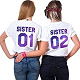 Best Freund Best Friends Sisiter Shirt mit farbigen Aufdruck für Zwei Shirts mädchen Damen Tops Sommer Oberteil 2 Stücke BFF Geschenke(Sister-01-S+02-S)