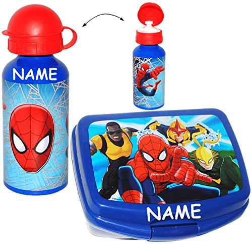 2-tlg-set-lunchbox-brotdose-trinkflasche-ultimate-spider-man-incl-name-grosses-fach-superleicht-brot